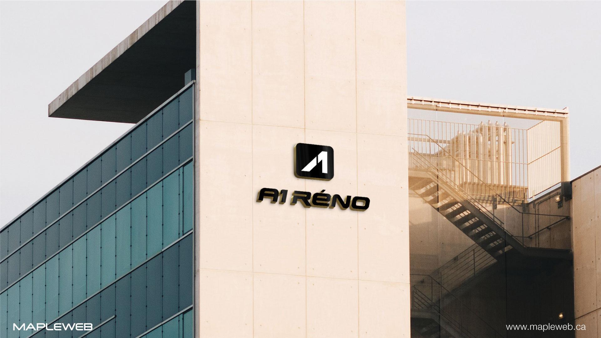 a1-reno-brand-logo-design-by-mapleweb-vancouver-canada-logo-on-white-building-mock