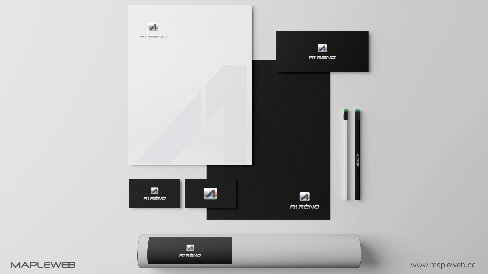 a1-reno-brand-logo-design-by-mapleweb-vancouver-canada-logo-stationery-mock