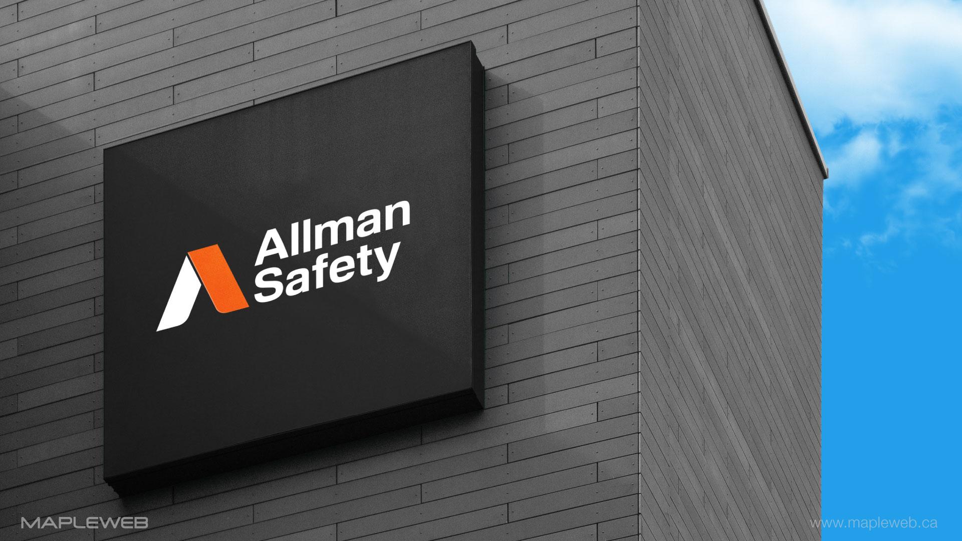 allman-safety-brand-logo-design-by-mapleweb-vancouver-canada-logo-on-building-mock