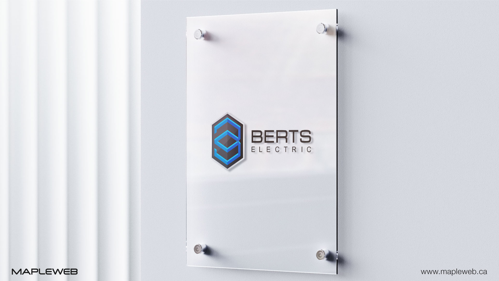 berts-electric-brand-logo-design-by-mapleweb-vancouver-canada-glass-wall-mock
