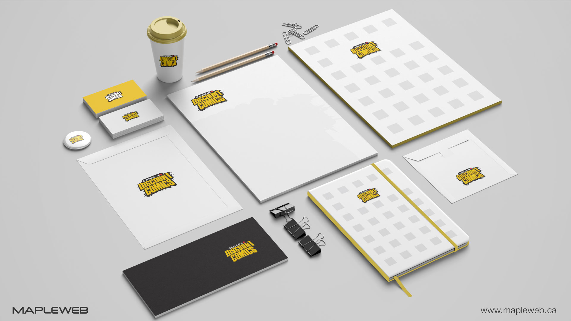 canada-discount-comic-brand-logo-design-by-mapleweb-vancouver-canada-stationery-mock