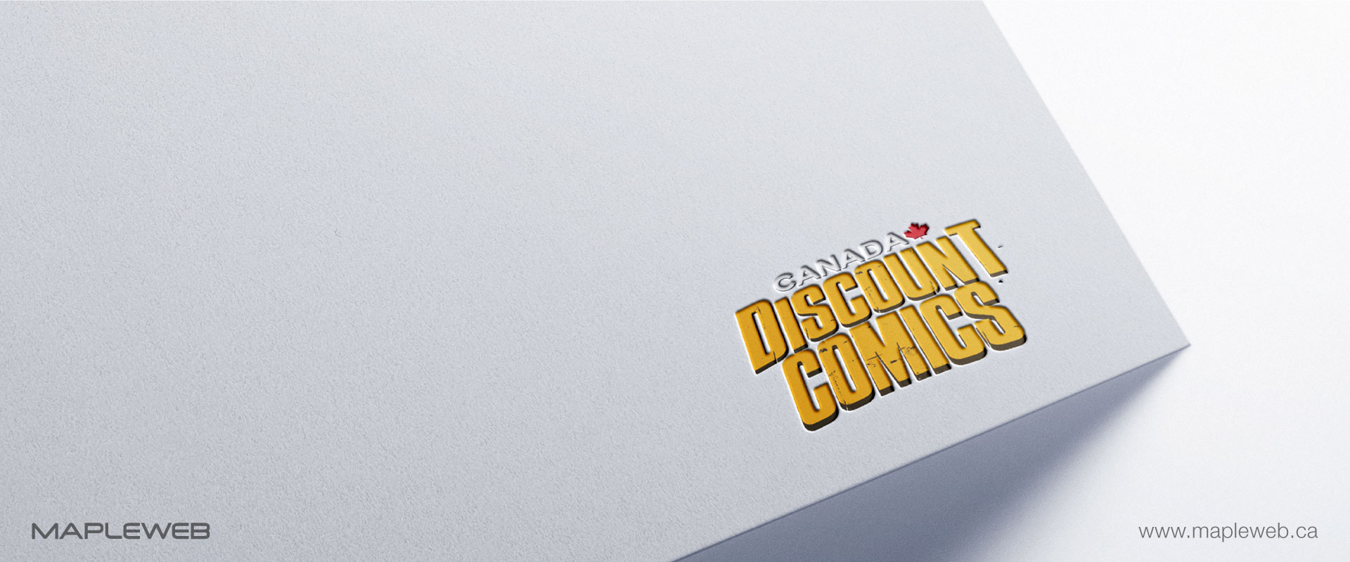 canada-discount-comic-brand-logo-design-by-mapleweb-vancouver-canada-white-paper-card-mock