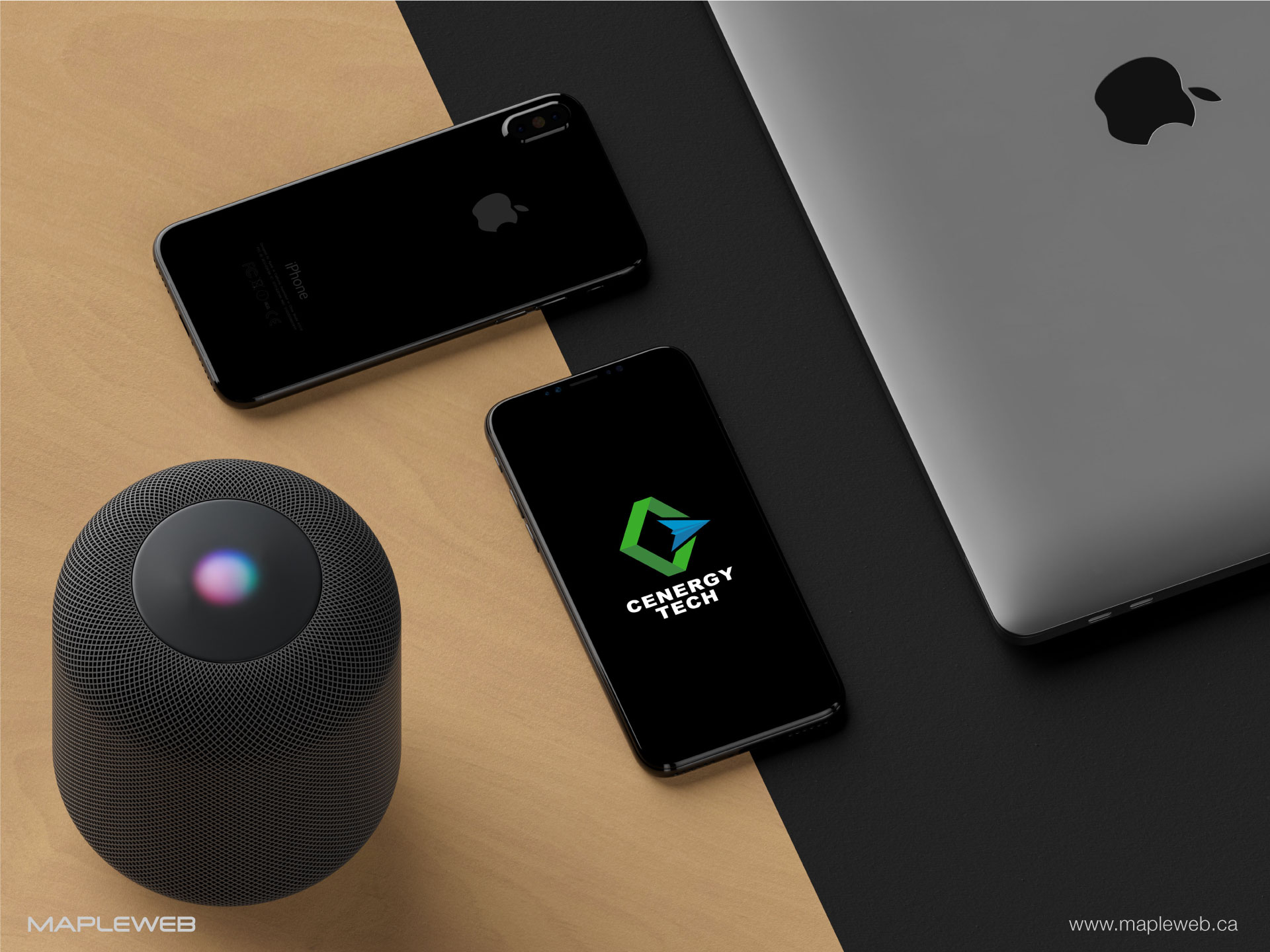 cenergy-tech-brand-logo-design-by-mapleweb-vancouver-canada-laptop-iphone-siri-mock