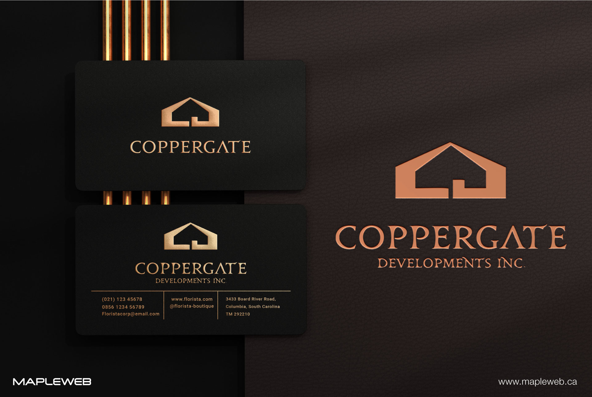 coppergate-brand-logo-design-by-mapleweb-vancouver-canada-black-folded-business-card-mock