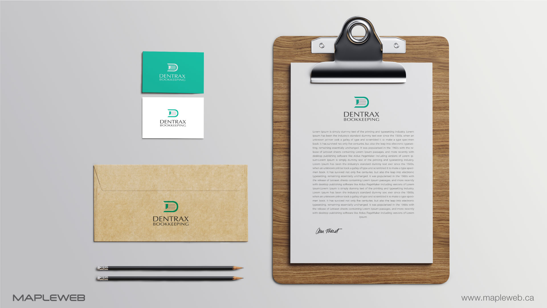 dentraxbookkeeping-brand-logo-design-by-mapleweb-vancouver-canada-staionery-mock