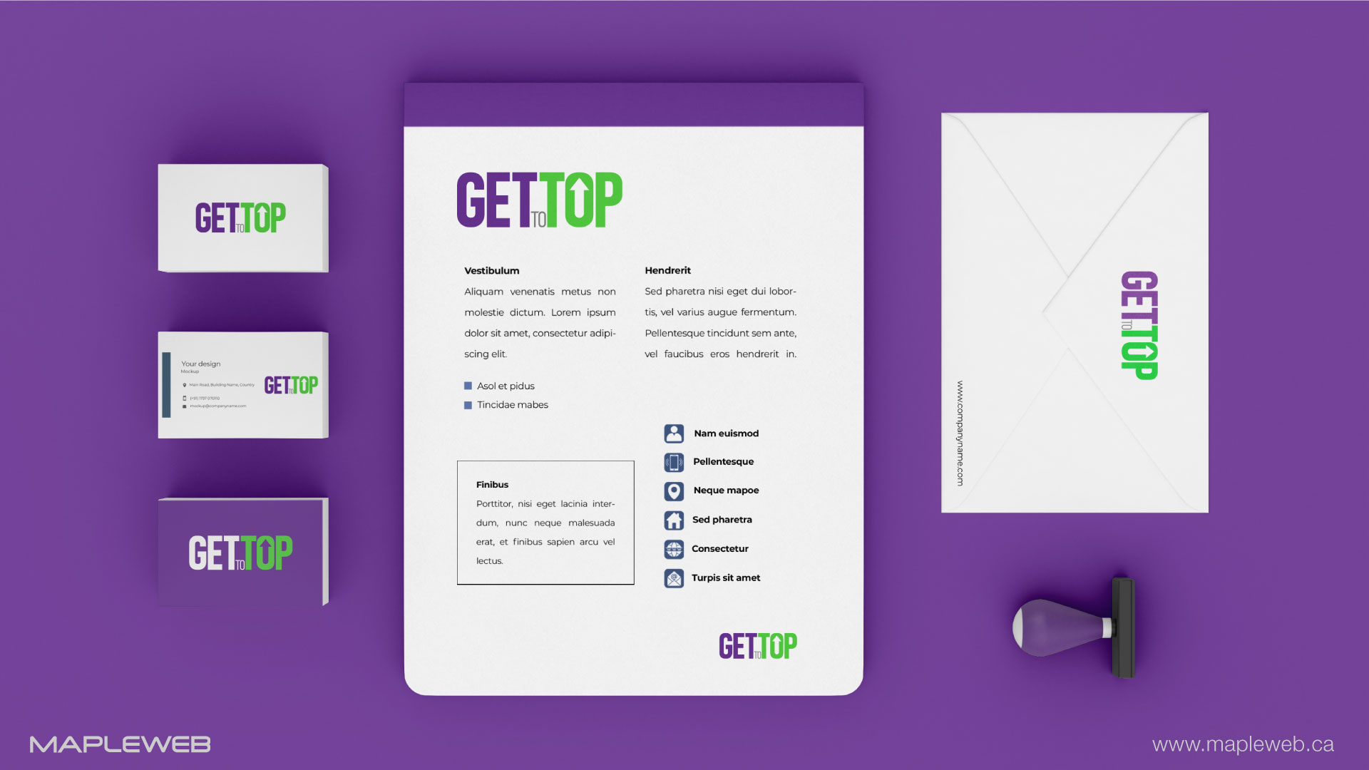 gettotop-brand-logo-design-by-mapleweb-vancouver-canada-stationery-purple-mock