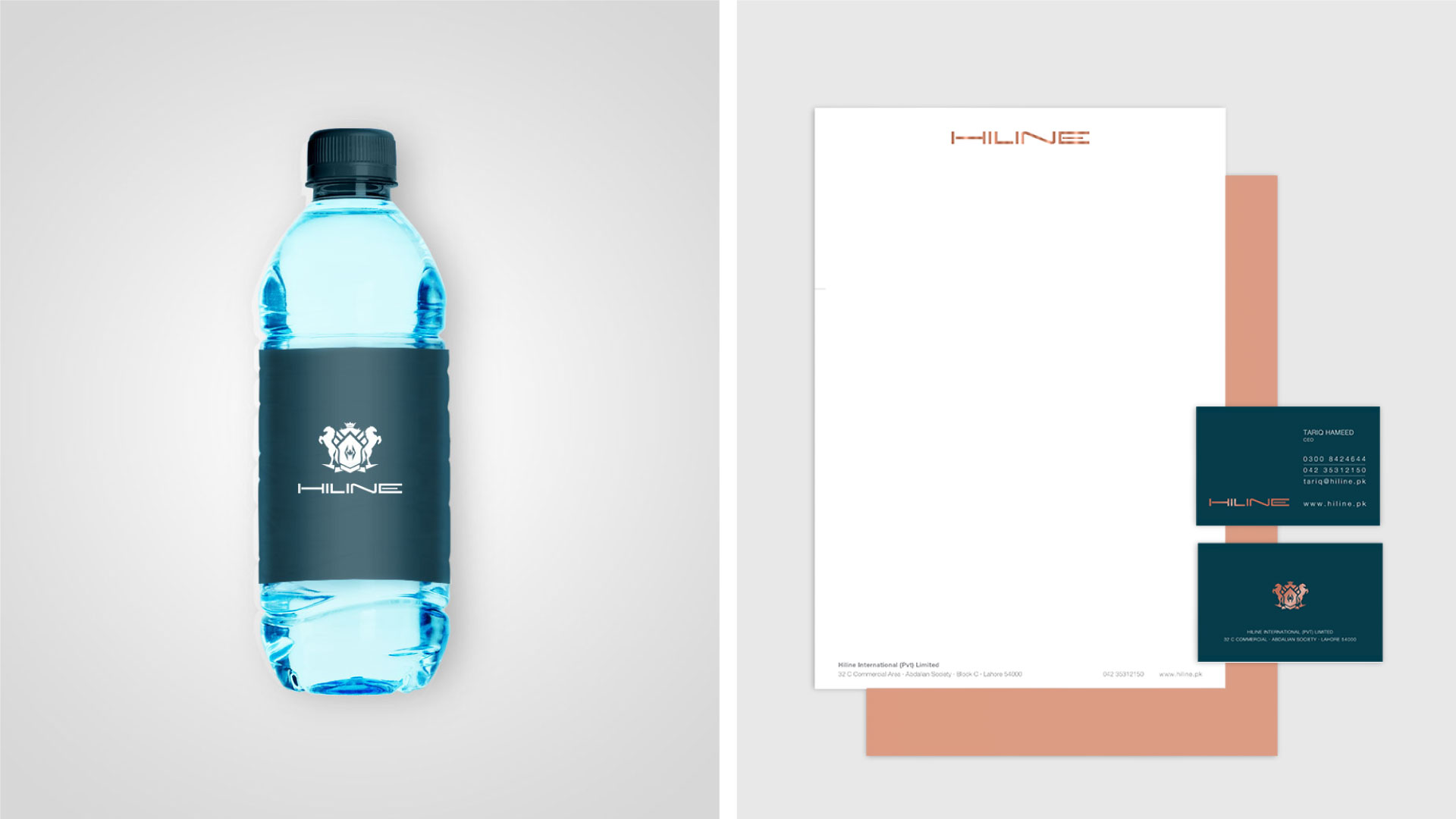 hiline-brand-logo-design-by-mapleweb-vancouver-canada-water-bottle-business-card-and-letterhead-mock