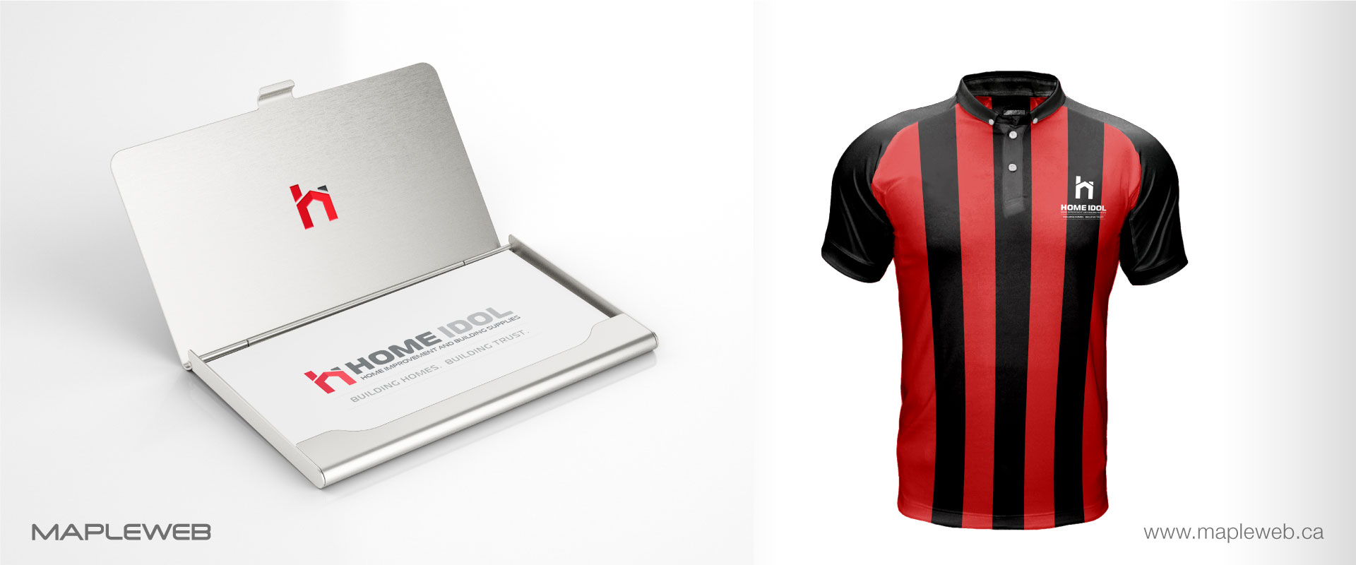 home-idol-brand-logo-design-by-mapleweb-vancouver-canada-tshirt-business-card-mock