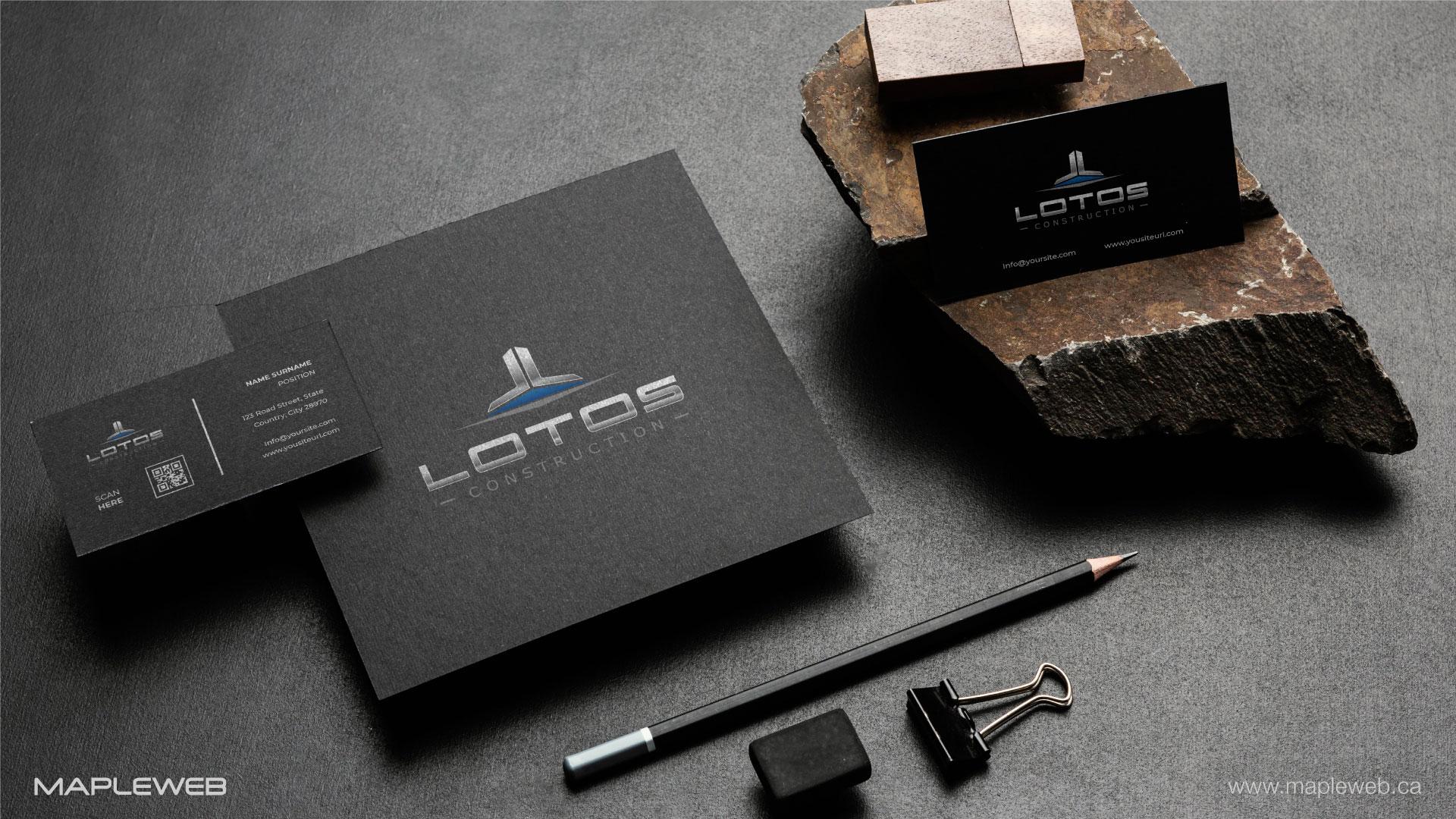 lotos-construction-brand-logo-design-by-mapleweb-vancouver-canada-black-stationery-mock