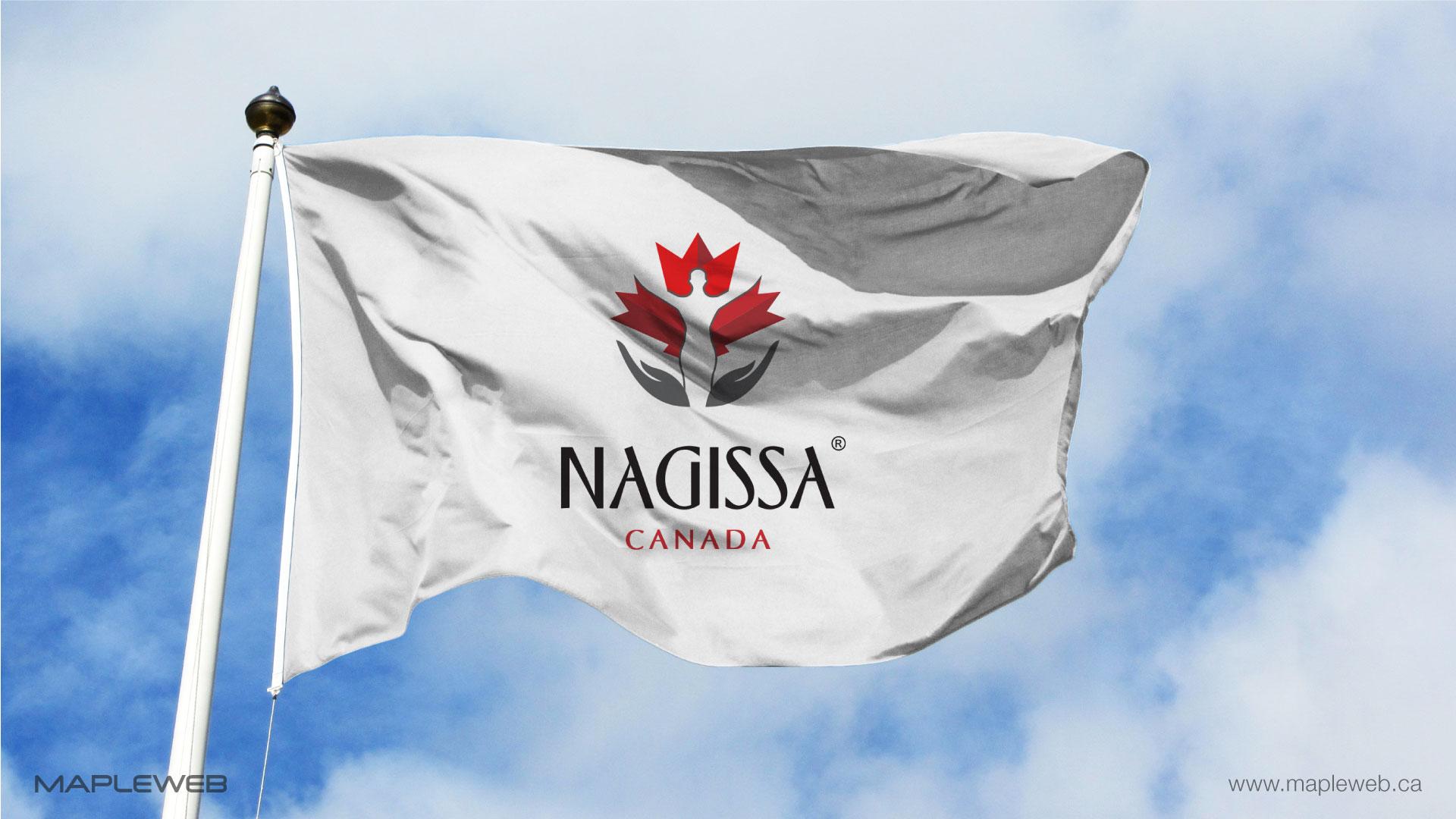 nagissa-canada-brand-logo-design-by-mapleweb-vancouver-canada-logo-on-white-flag-mock