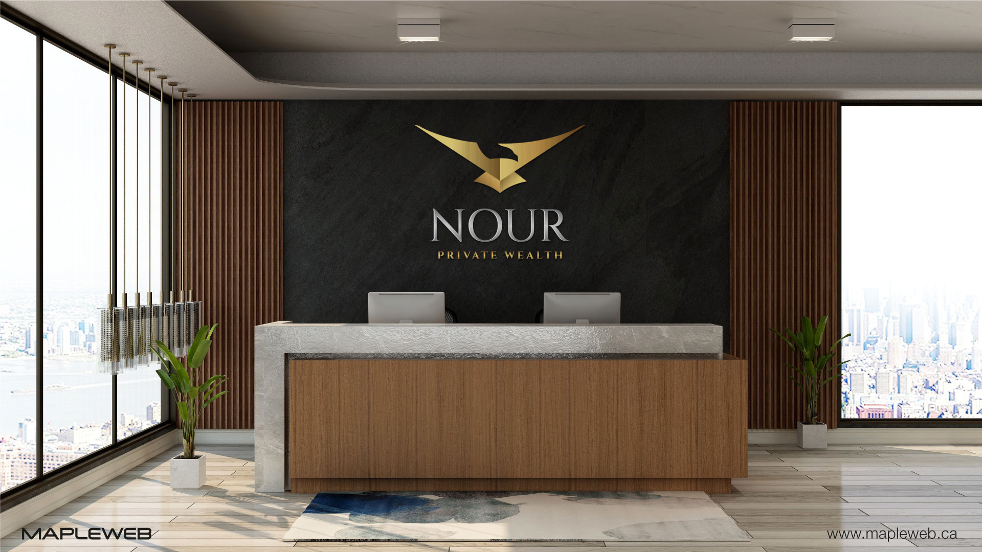nour-private-wealth-brand-logo-design-by-mapleweb-vancouver-canada-reception-mock