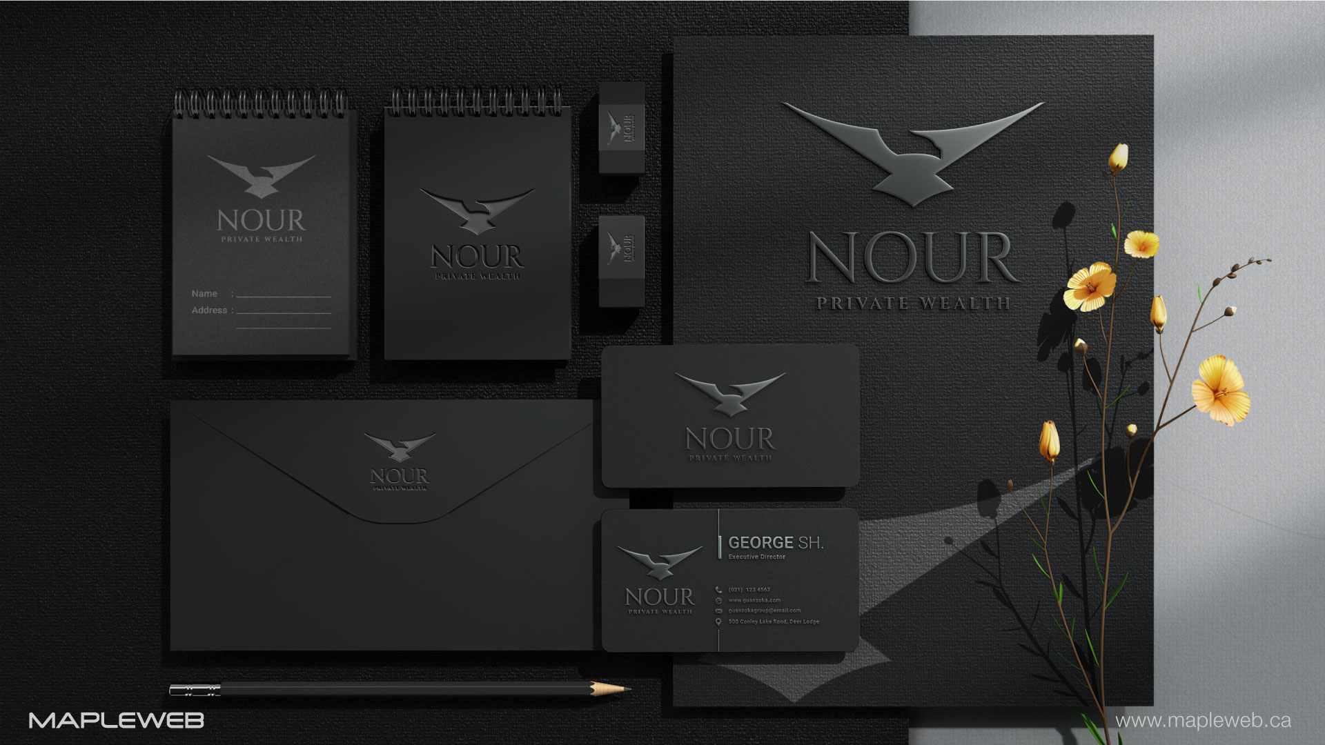 nour-private-wealth-brand-logo-design-by-mapleweb-vancouver-canada-stationery-mock