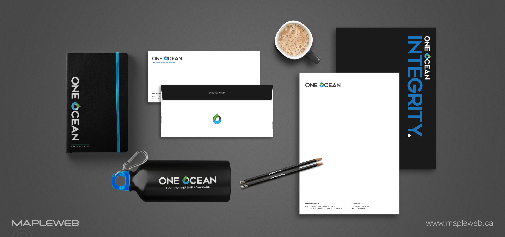 one-ocean-brand-logo-design-by-mapleweb-vancouver-canada-staionery-mock