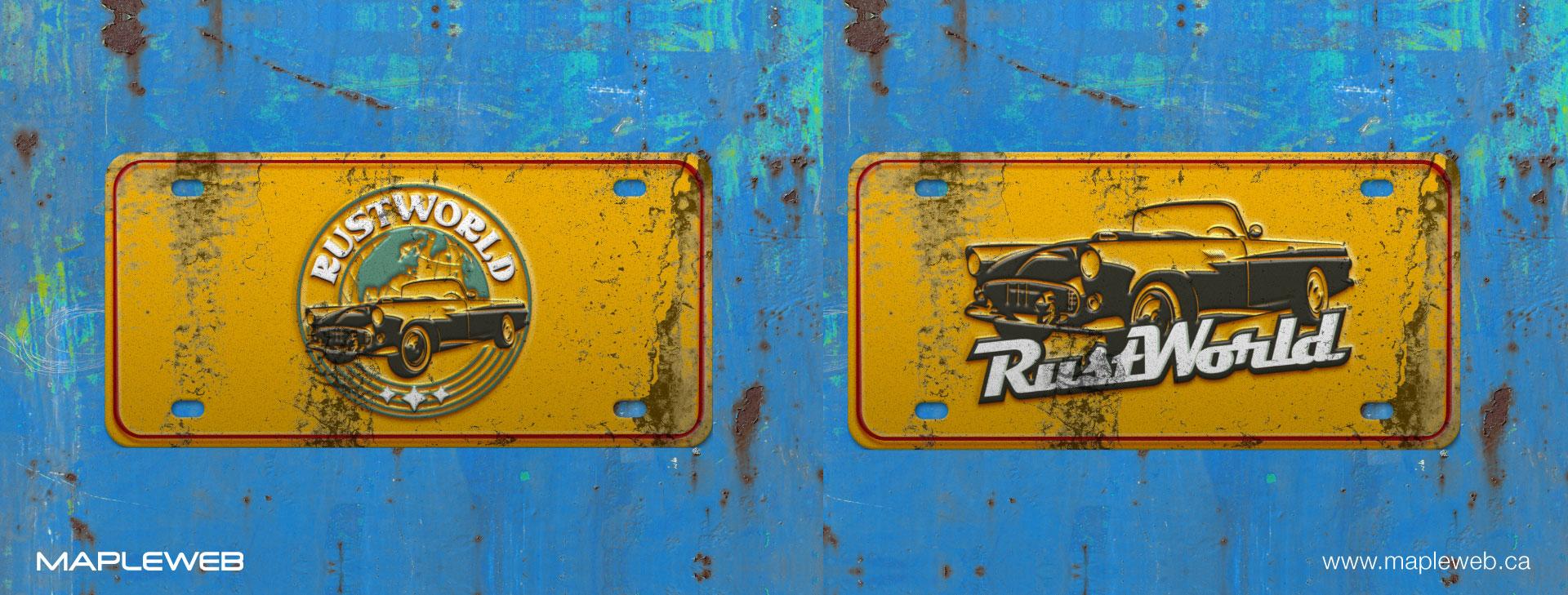 rust-world-brand-logo-design-by-mapleweb-vancouver-canada-license-plate-yellow-rust-mocks