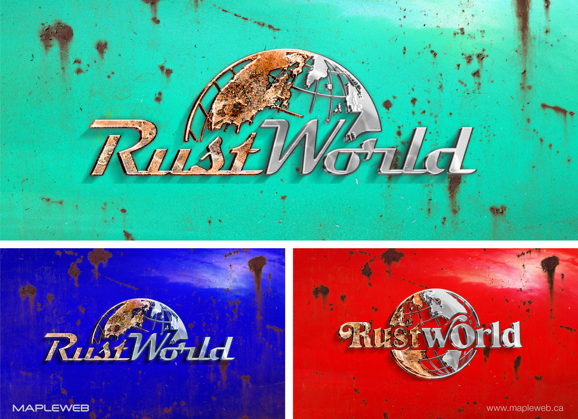 rust-world-brand-logo-design-by-mapleweb-vancouver-canada-turquoise-blue-red-mettalic-effect-mocks