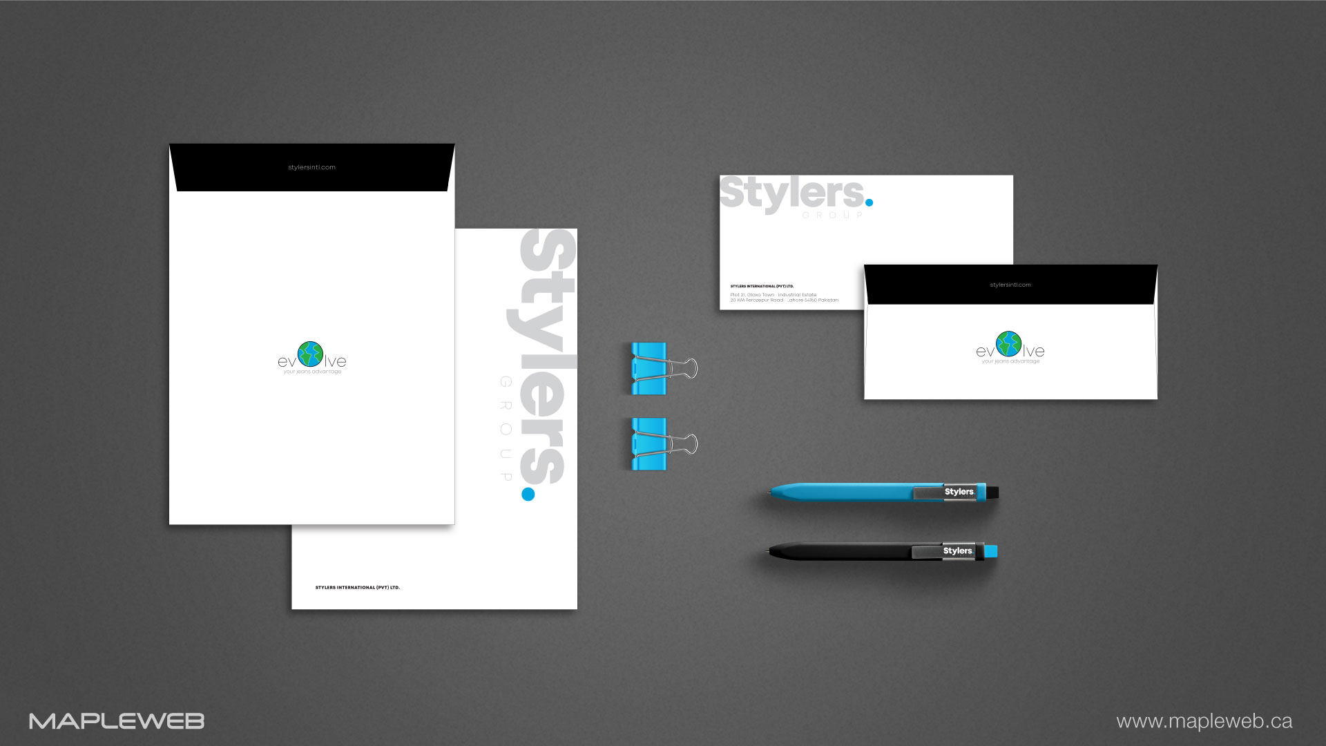 stylers-group-brand-logo-design-by-mapleweb-vancouver-canada-stationery-mock