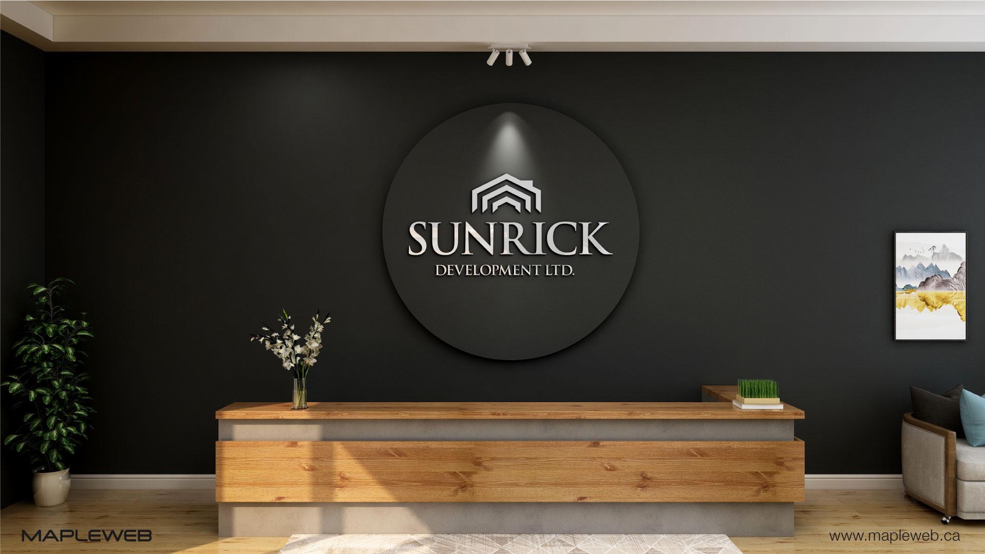 sunrick-development-ltd-brand-logo-design-by-mapleweb-vancouver-canada-reception-wall-mock