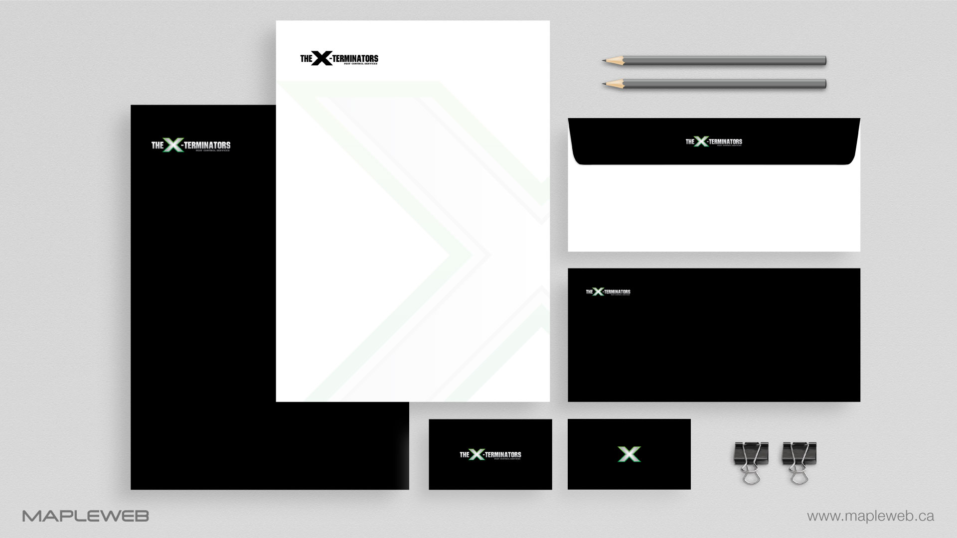 the-x-terminators-brand-logo-design-by-mapleweb-vancouver-canada-stationery-mock