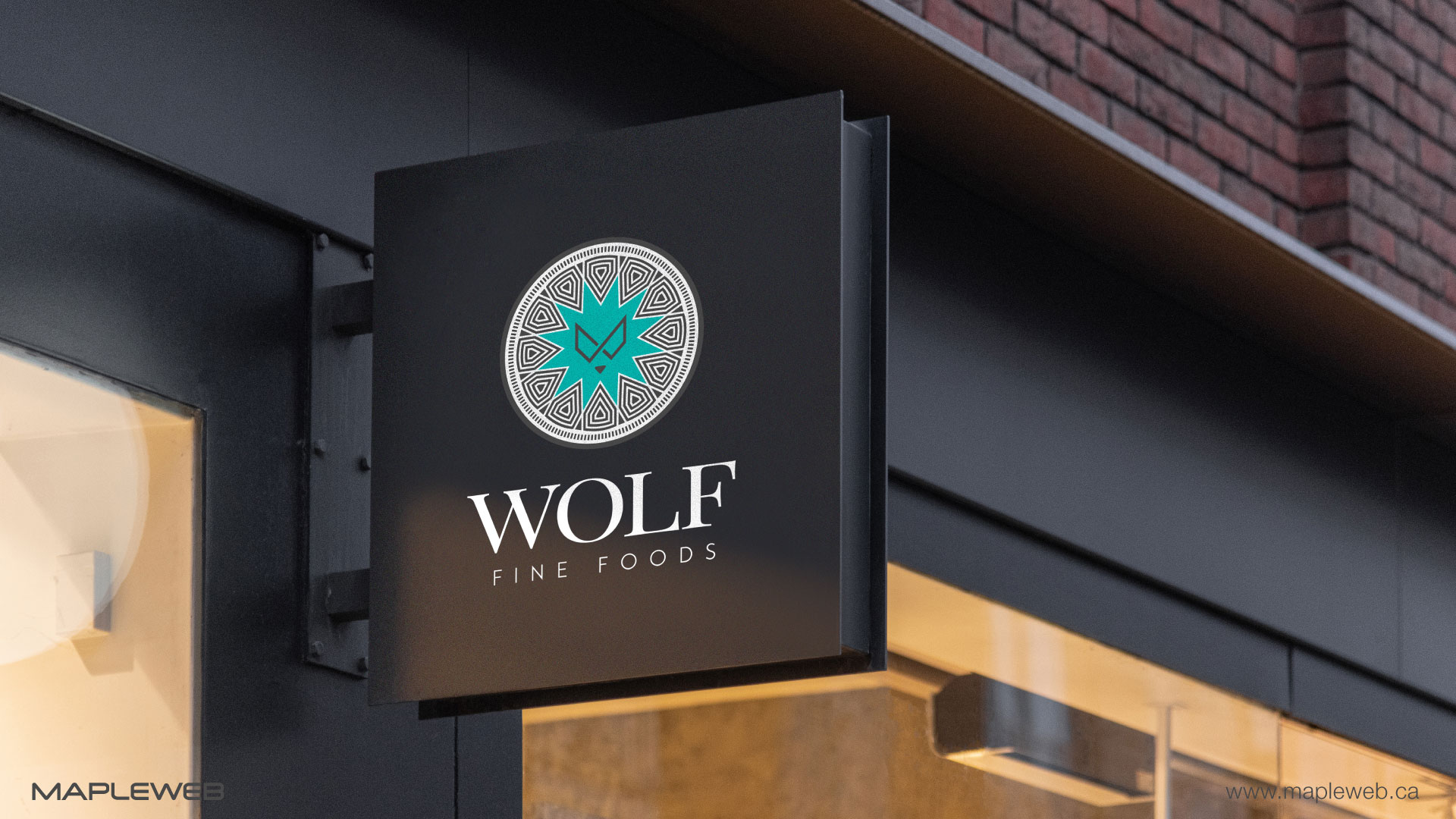 wolf-fine-foods-brand-logo-design-by-mapleweb-vancouver-canada-hotel-outsid-signage-mock