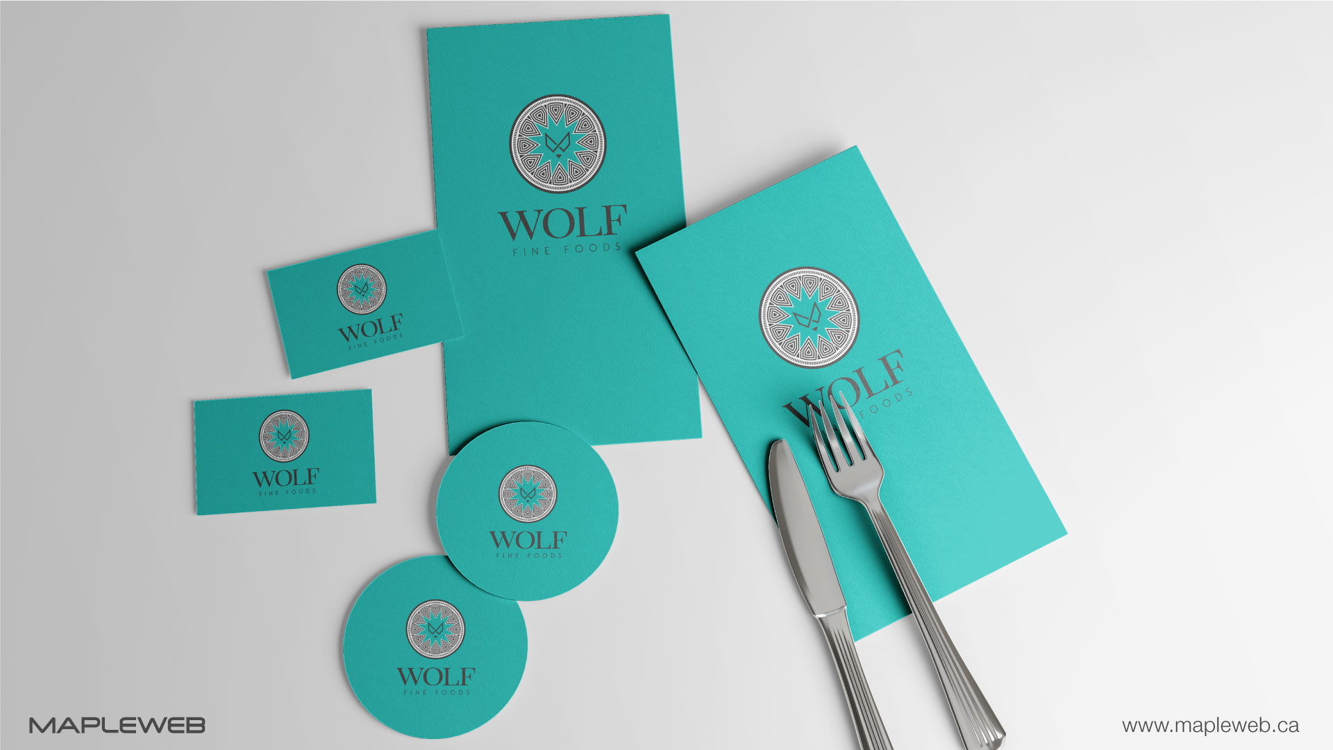 wolf-fine-foods-brand-logo-design-by-mapleweb-vancouver-canada-paper-stickers-folk-spoon-mock