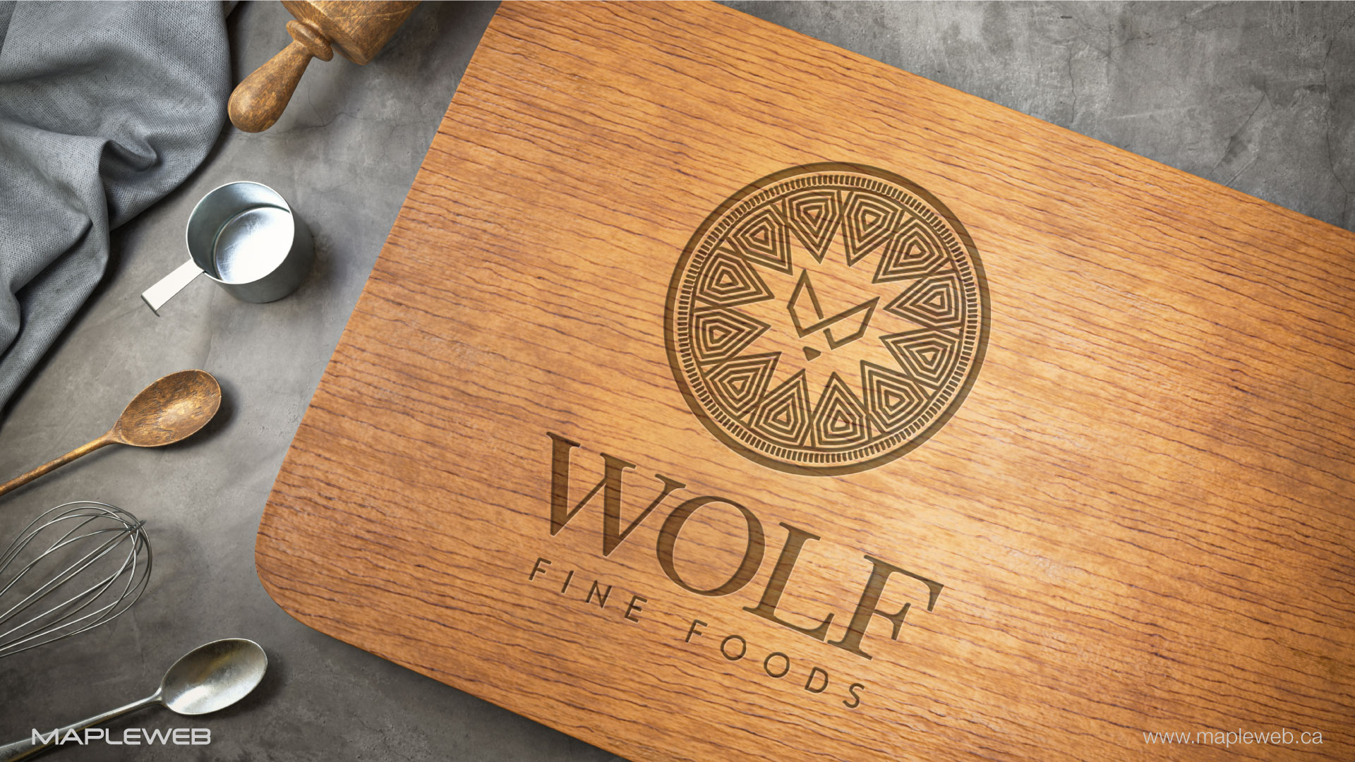 wolf-fine-foods-brand-logo-design-by-mapleweb-vancouver-canada-wooden-cutting-board-mock